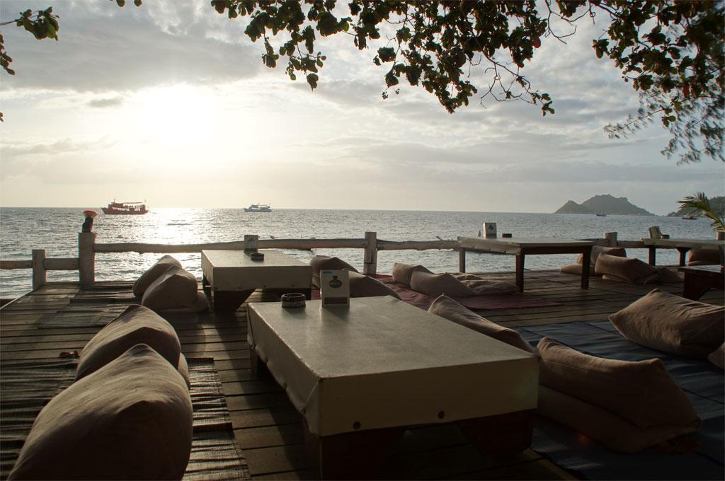 Restaurant beim Sonnenuntergang